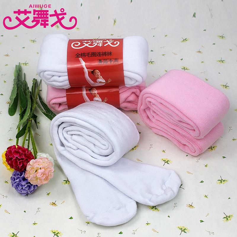 儿童加厚毛圈袜冬季连裤袜女童舞蹈袜白色粉色加绒练功袜打底裤袜