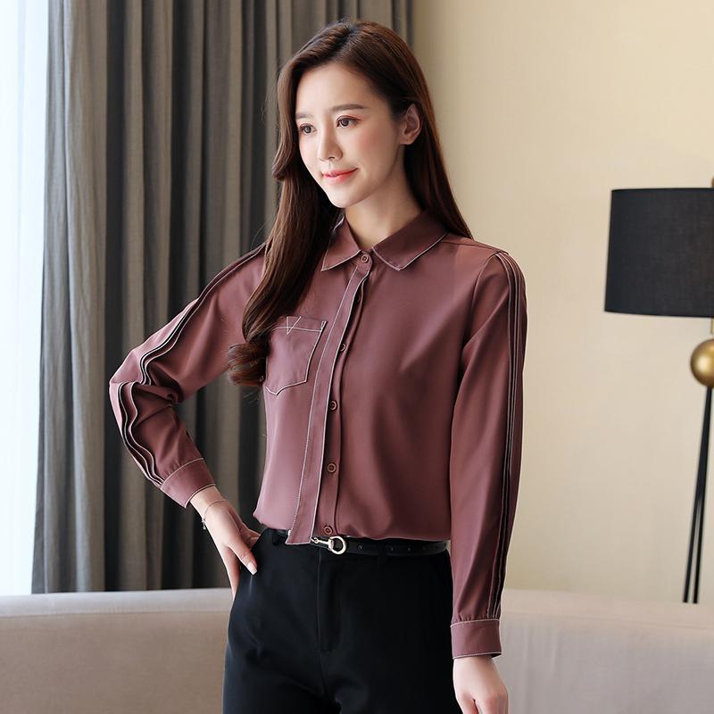 实拍2020春装新款纯色衬衫女长袖韩版休闲女装大码上衣雪纺衫衬衣-梦依纯-