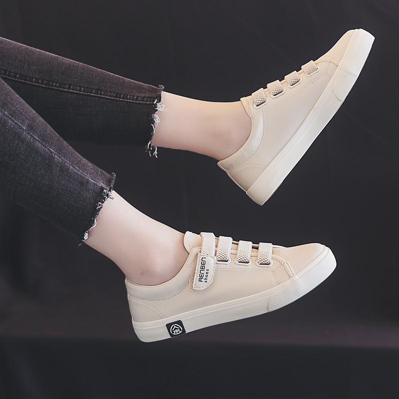 人本帆布鞋女2019新款秋鞋魔术贴女鞋百搭板鞋韩版学生秋款小白鞋