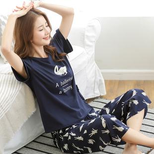 睡衣女夏套装纯棉短袖长裤两件套韩版休闲宽松可外穿阔腿裤家居服