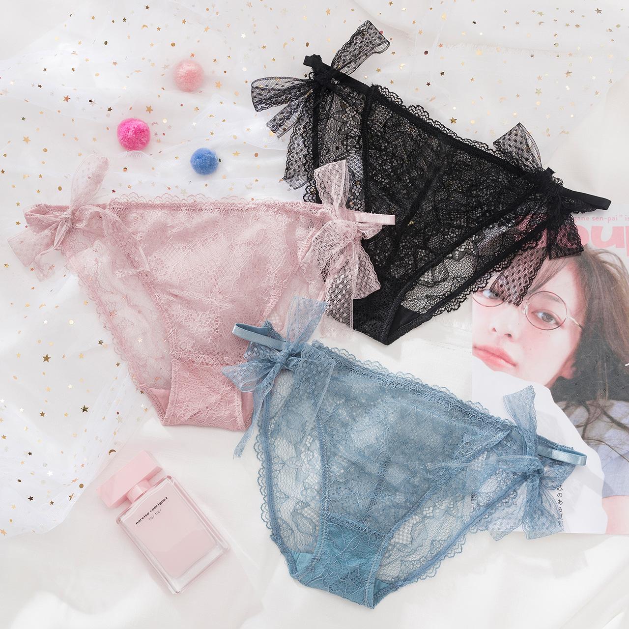 莎琪儿私藏超薄性感低腰蕾丝三角裤日系仙女蝴蝶结网纱少女内裤