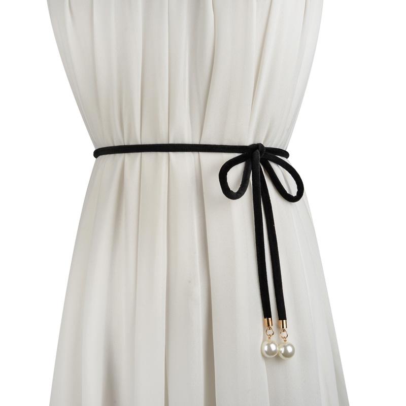 时尚甜美女士打结细腰带 绒布珍珠装饰配裙子细腰链 蝴蝶结黑色带