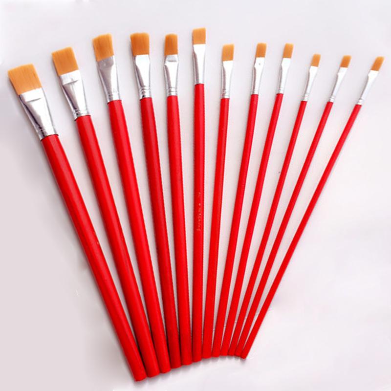 尼龙毛油画笔红杆水粉水彩笔刷子美术丙烯颜料画排笔单支
