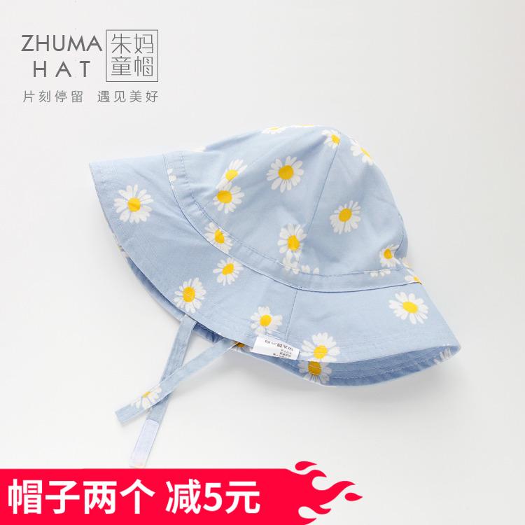 婴幼儿遮阳帽春秋夏季女宝宝花朵小清新渔夫帽薄款棉布防晒公主帽