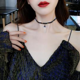 韩国黑色性感锁骨链简约短款星星吊坠项链choker项圈颈带颈链女