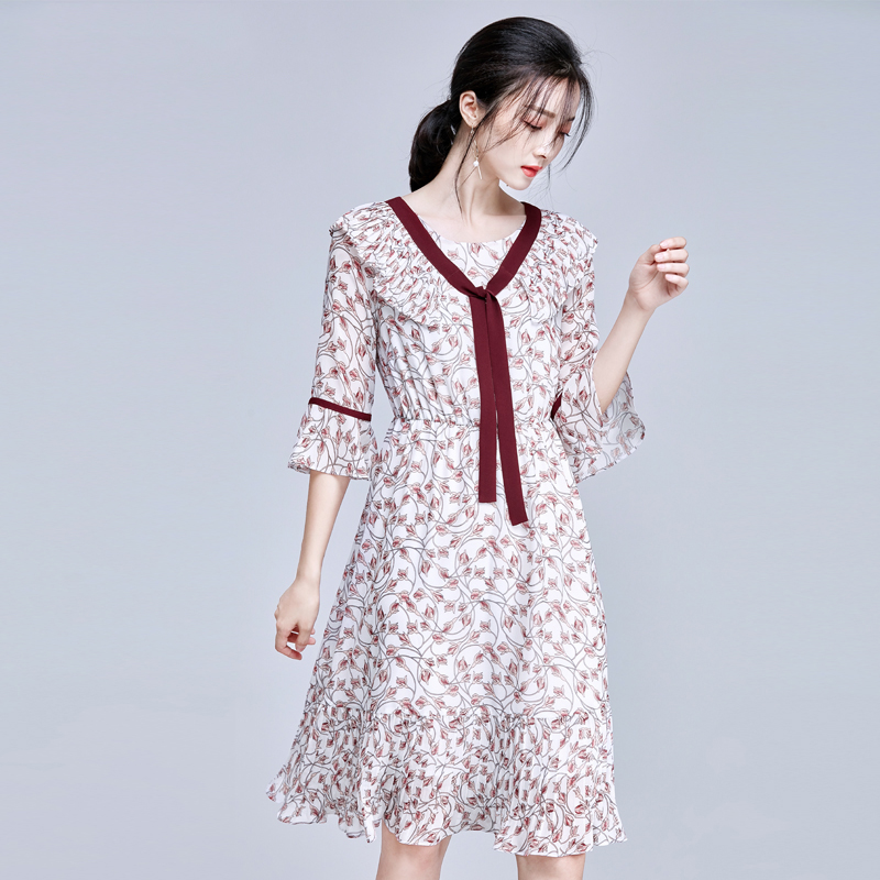 【66元】尚都比拉新款中长款收腰喇叭七分袖印花连衣裙A字裙女装