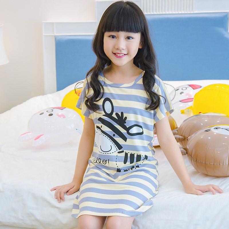 女童睡裙夏季薄款儿童睡衣卡通棉质短袖公主睡衣裙中大童宝宝睡裙