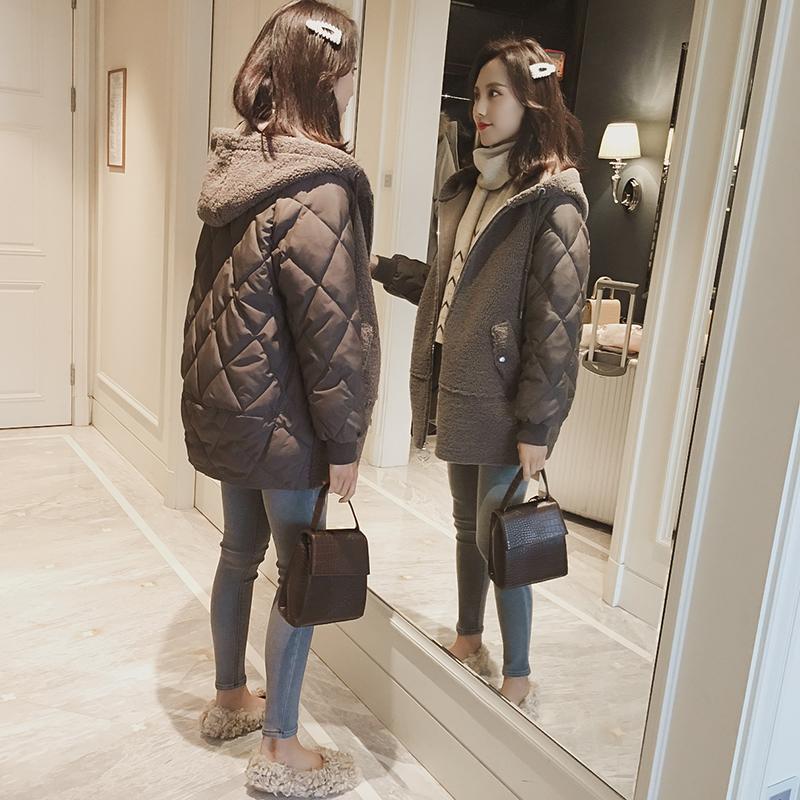 2018冬季新款韩版中款棉服女宽松羊羔毛中长款冬装外套棉衣棉袄bf
