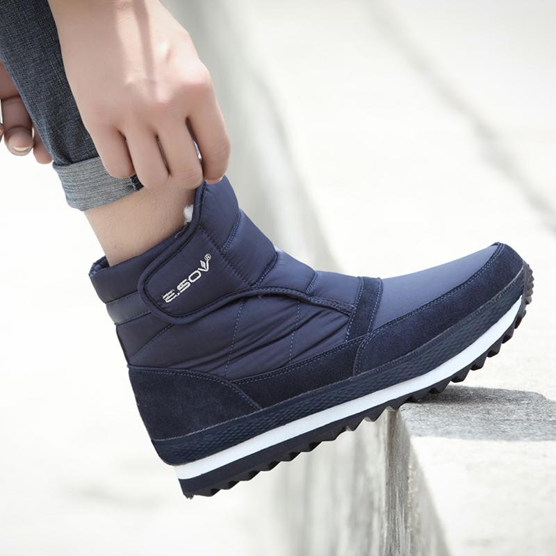 冬季短靴男防水防滑低筒男鞋加绒雪地靴保暖厚底棉鞋户外低帮男靴