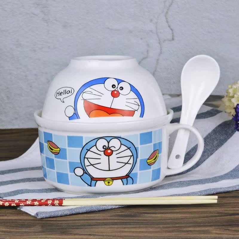 大号汤碗可爱卡通哆啦A梦泡面杯带盖饭碗筷家用陶瓷餐具套装包邮