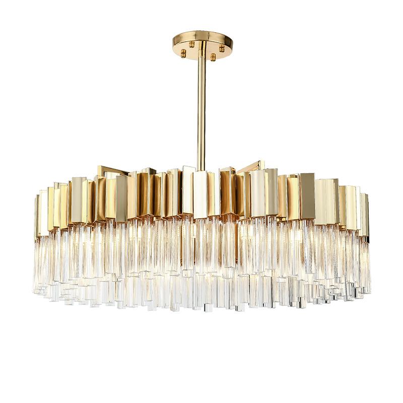 后现代水晶条吊灯轻奢客厅创意圆形个性大气餐厅卧室吊灯-皇蒙艺术灯饰