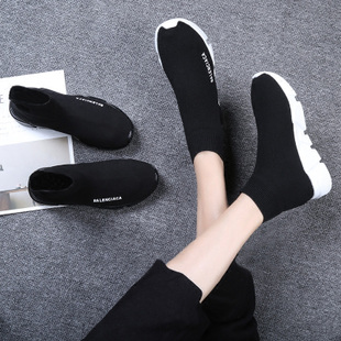 2018夏季新款高帮透气韩版运动休闲弹力袜子鞋ulzzang百搭鞋女潮