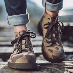 马登冬季马丁靴男英伦风高帮工装短靴反绒皮迷彩靴子军靴QC淘宝优惠券