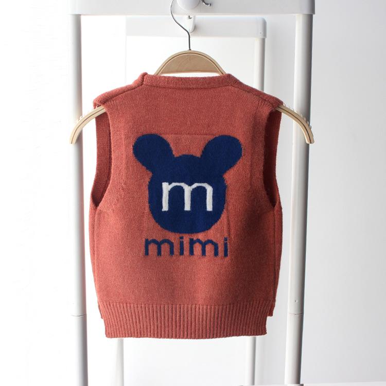 婴儿针织背心春秋开衫薄款男小童毛衣马夹V领1-3岁男宝宝坎肩外穿