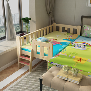 Solid wood children's bed with guardrail boy and girl crib can be customized
