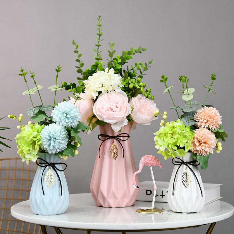 清新ins北欧陶瓷假花花瓶家居装饰品插花客厅酒柜创意摆件电视柜