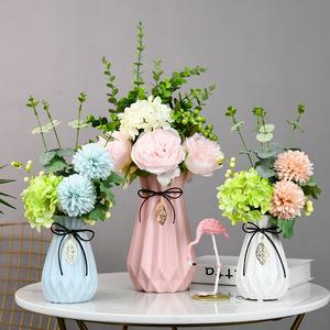 Fresh ins Nordic ceramic fake flower vase home decoration flower arrangement living room wine cabinet creative decoration TV cabinet