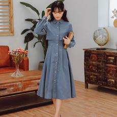 【8737#不低于98】实拍现货纯色长袖连衣裙 秋冬新款