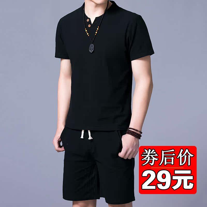 套装男士短袖T恤韩版潮流休闲体恤冰丝棉麻套装男装夏季男夏季潮