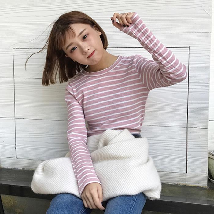 2017秋装新款韩版女装百搭条纹针织衫上衣修身显瘦长袖打底衫学生