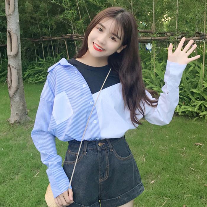 夏装新款韩版假两件露肩上衣学生条纹衬衣宽松显瘦百搭长袖衬衫女