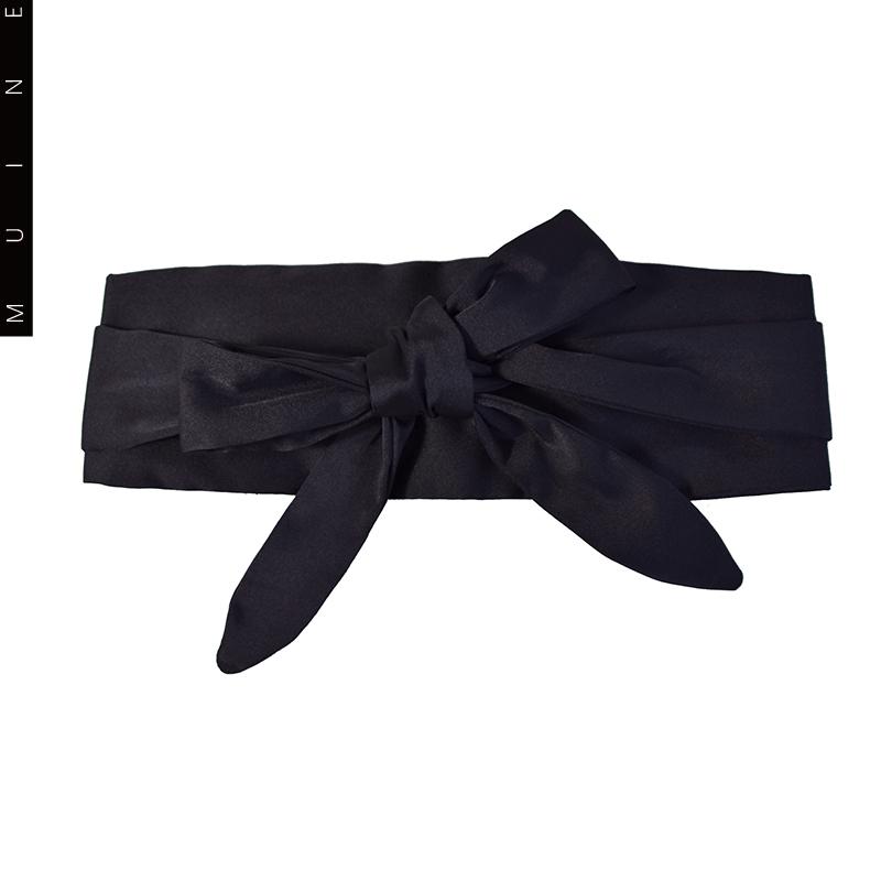 MUI秋冬新款极简约黑色百搭女士腰带连衣裙衬衫装饰显瘦宽腰封