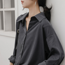 冷淡风垂感灰色衬衫女设计感(小)众宽松at14古港味c1秋黑衬衣