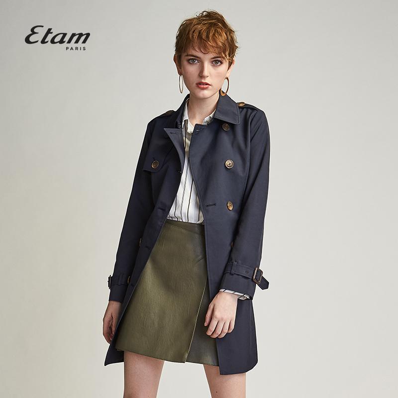 艾格ETAM2018秋季新款女纯色修身中长款系带收腰风衣8E0134111