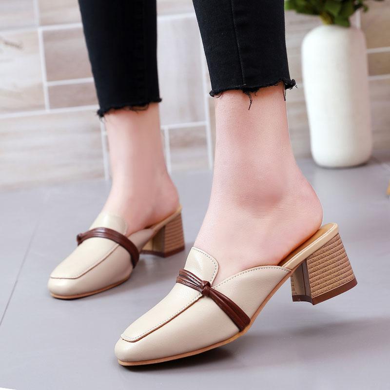 网红拖鞋女春外穿2019新款韩版百搭方头粗跟半拖鞋包头凉拖穆勒鞋