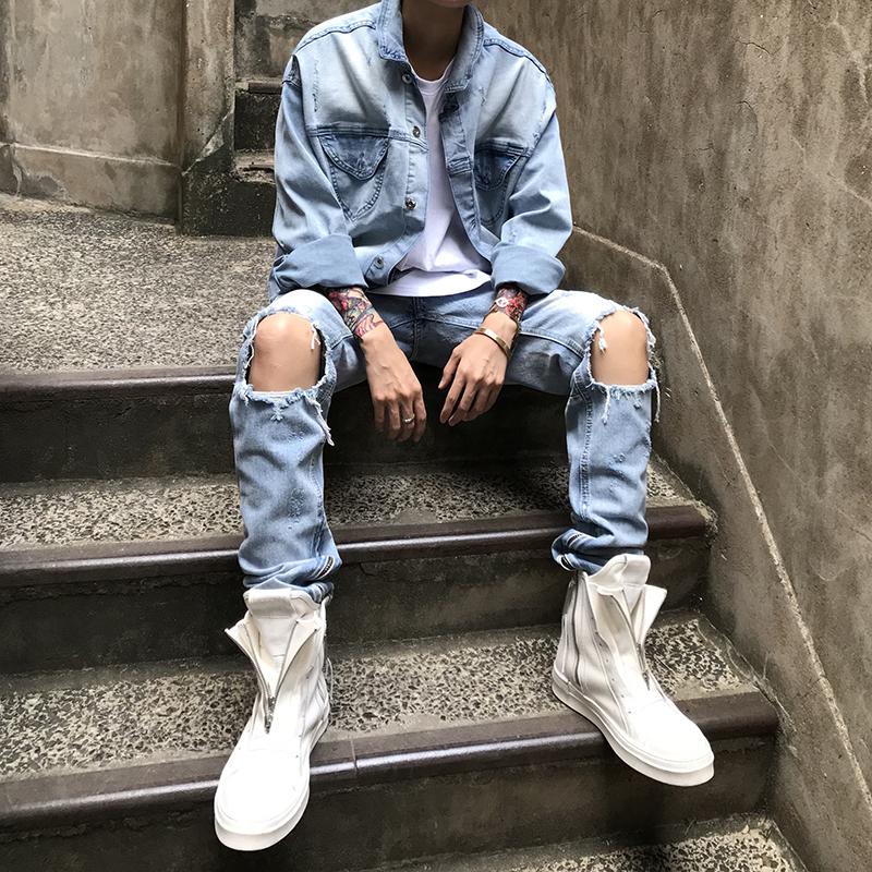 杨一帆2019网红ins休闲修身小脚裤潮流韩版时尚乞丐破洞牛仔裤男