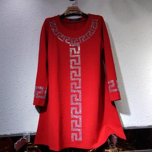 秋冬加大码女装红色罗马棉烫钻亮钻圆领中长款A版打底衫打底裙