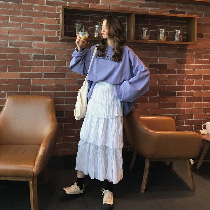 秋装女装2018新款时尚套装宽松字母卫衣+百搭半身裙蛋糕裙两件套