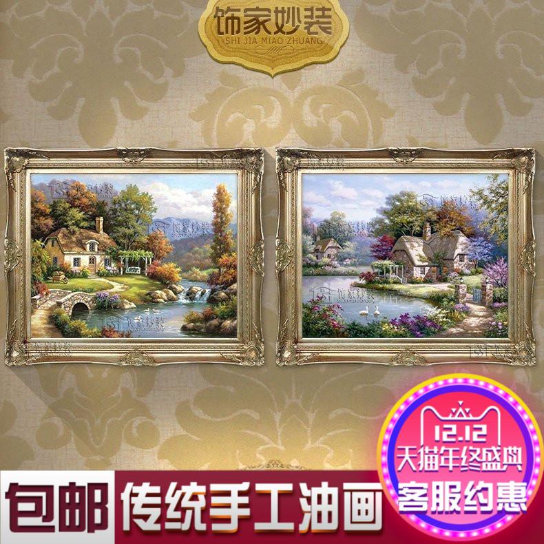 纯手绘手工油画简约欧式餐厅客厅壁炉玄关挂画有框装饰画花园风景