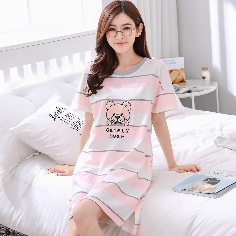 睡裙女夏可爱学生甜美纯棉莫代尔公主短袖宽松孕妇性感女睡衣短裙
