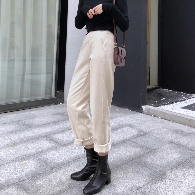 2018秋季新款纯色显瘦高腰牛仔裤复古百搭休闲裤直筒裤女装宽松女