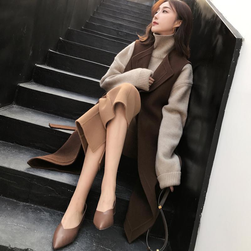 MMCO◆2017新款羊毛双面呢子马甲中长款马夹两件套装女装秋冬装