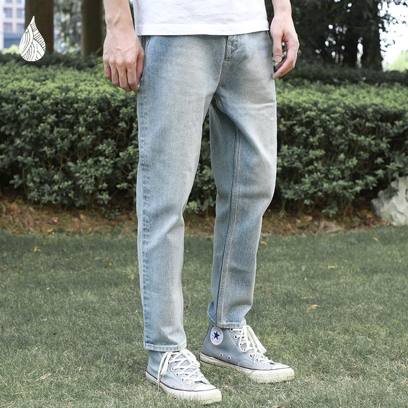 蓝布屋潮牌夏季透气薄款潮流男士水洗牛仔裤修身小脚九分裤600CLX