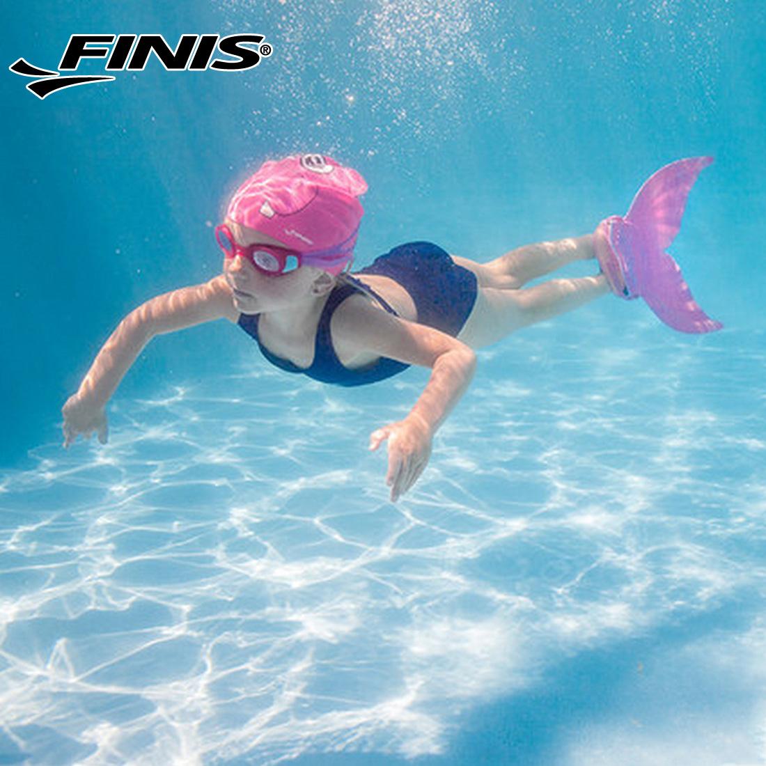 FINIS斐尼斯新款游泳训练单片儿童美人鱼脚蹼可调节网袋包装
