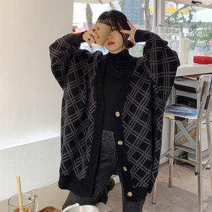 2020秋冬毛衣外套女韩国v领宽松针织衫中长款毛衣开衫大码上衣潮图片