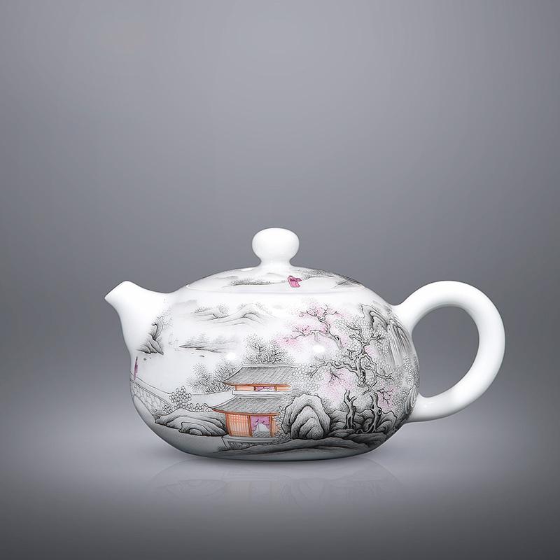 景君 景德镇陶瓷器 手绘粉彩山水全手工茶壶 功夫茶具