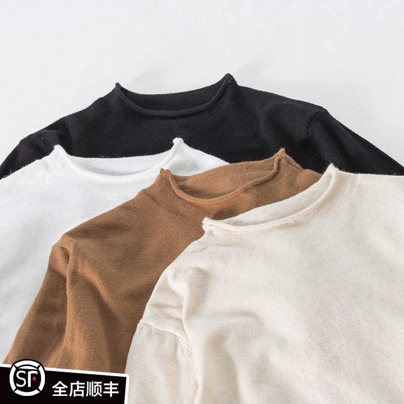 ZMA卷边。孕妇打底衫长袖春秋短款 孕妇半高领内搭针织衫秋装