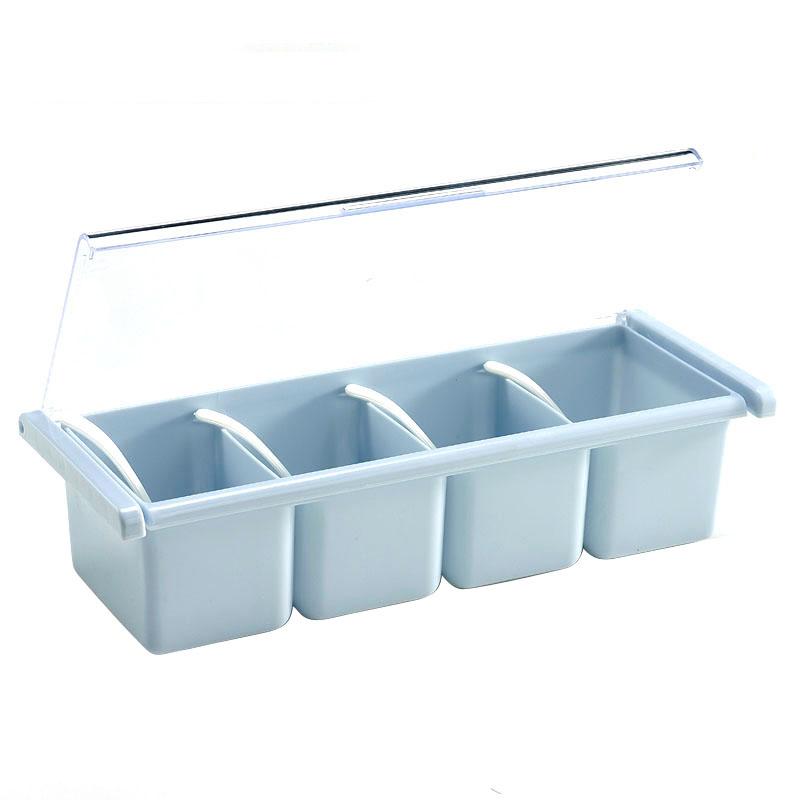 【日用百货】茶花四组调味盒 调味瓶罐 调料盒塑料颜色随机2527