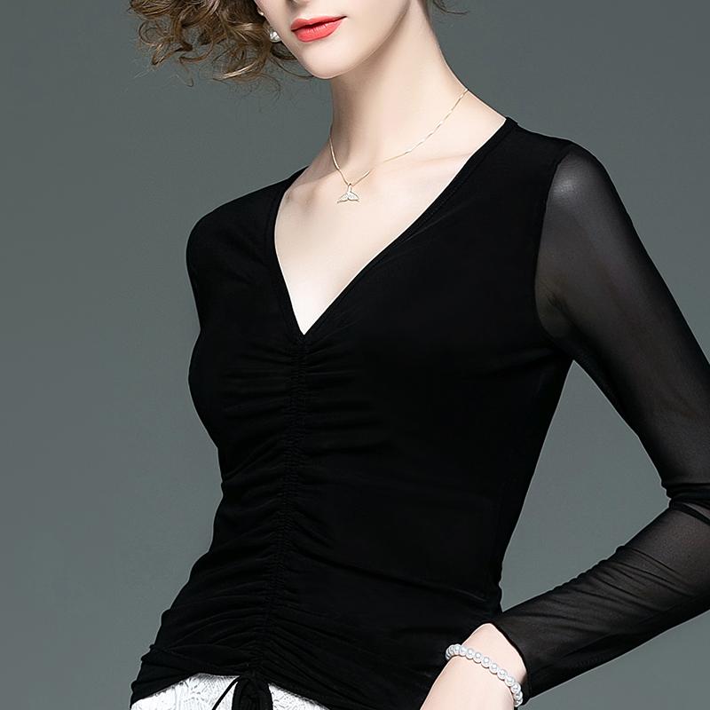 2019秋装新款显瘦长袖黑色抽绳T恤女时尚木耳边V领修身打底衫小衫