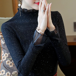 Spring New Lace Bottoming Shirt Women's Long Sleeve Spring Top Black Temperament New Women's Bottoming Western Style Shirt