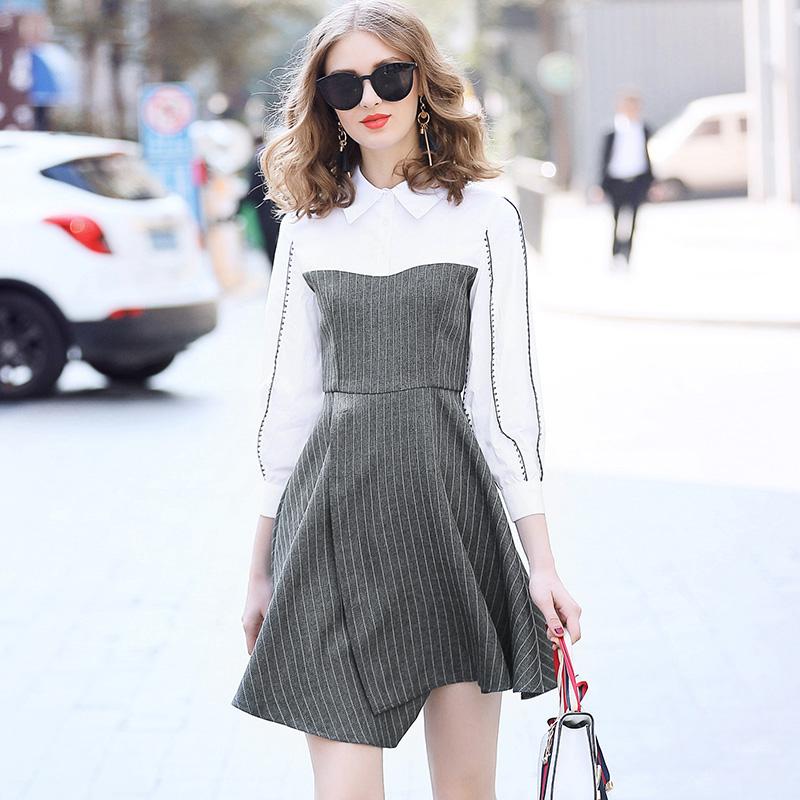 罗家RMOJUL 2018春装女装新款 翻领锯齿纹条纹拼接不规则摆连衣裙