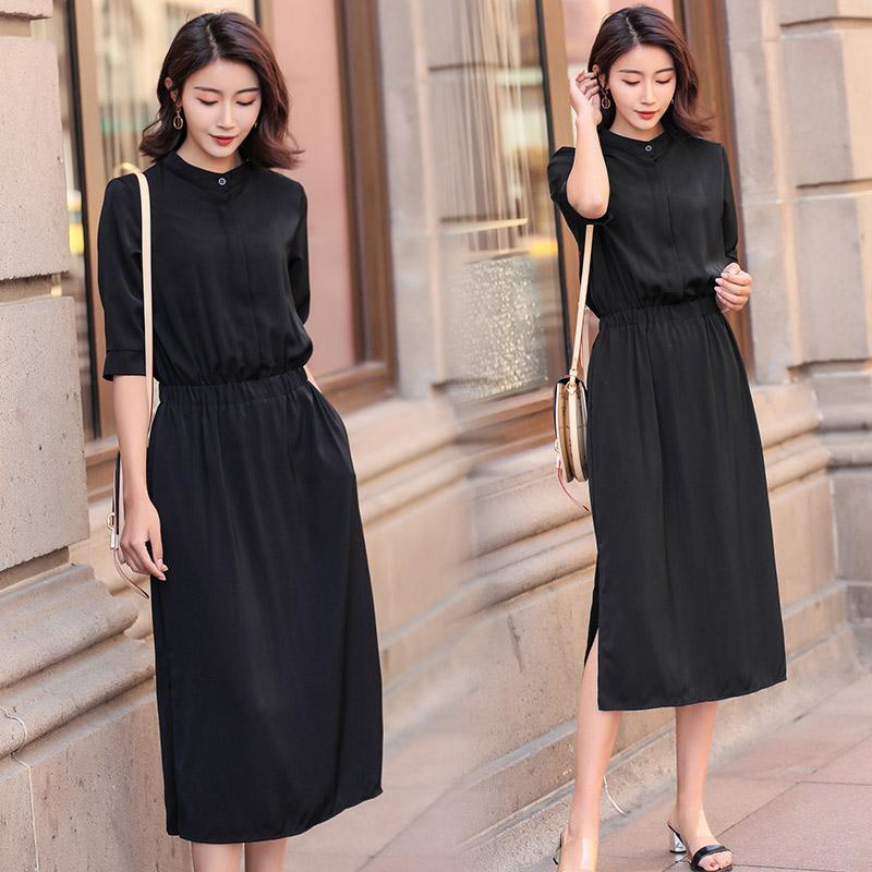 长裙2018春夏装新款女装韩版黑色开叉长裙气质收腰显瘦韩版连衣裙