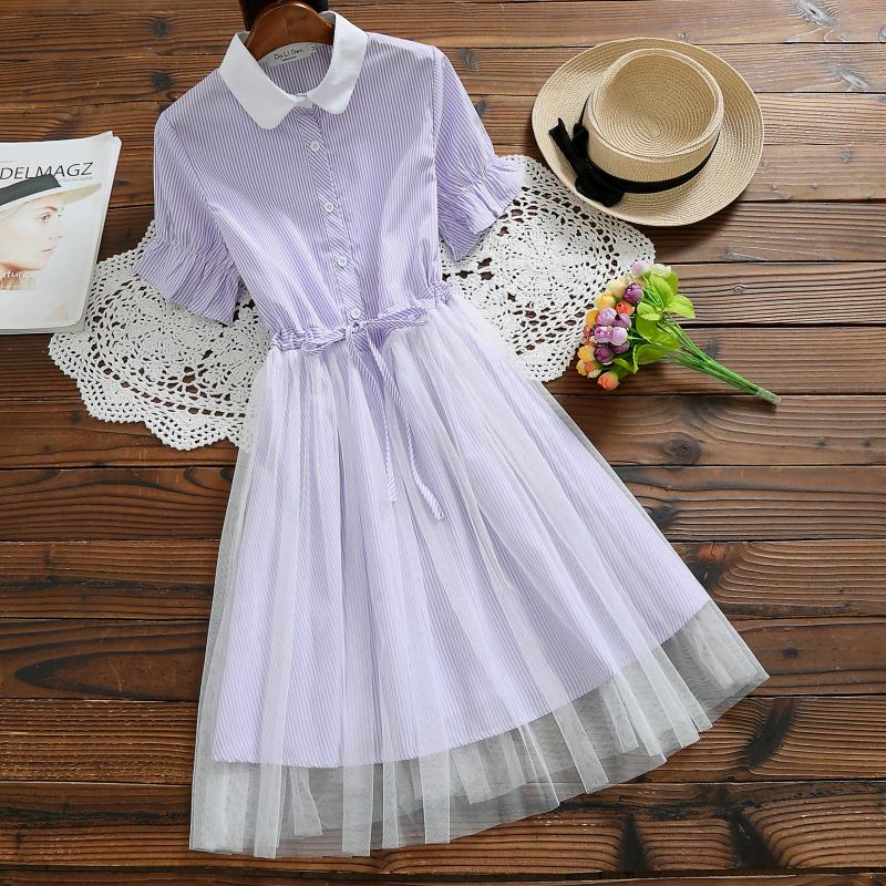 实拍2020夏季新款女装中长款条纹网纱娃娃领文艺学生连衣裙3279 -