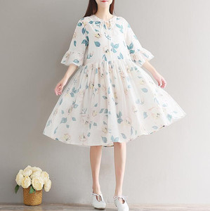 Maternity dress spring dress Mori girl fresh color mesh skirt stitching cotton yarn dress A word big swing skirt summer