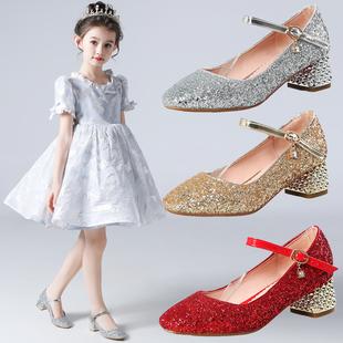 女童高跟鞋演出儿童鞋公主水晶鞋小女孩走秀单鞋礼服主持亮片皮鞋图片