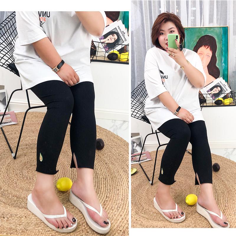 夏季新款木子理想胖mm大码打底裤七分裤百搭舒服显瘦适合大腿粗的